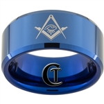 10mm Blue Beveled Tungsten Carbide White Lasered Masonic & Greek Design