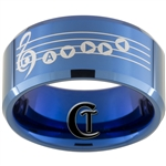 10mm Blue Beveled Tungsten Carbide Zelda Ocarina Serenade of Water Design