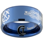 10mm Blue Beveled Tungsten Carbide White Lasered Coast Guard Design