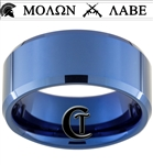 10mm Blue Beveled Tungsten Carbide white lasered Military Molon Labe Design