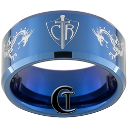 10mm Blue Beveled Tungsten Carbide CTR Dragons Design