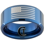 10mm Blue Beveled Tungsten Carbide American Flag Design