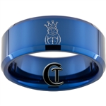 10mm Blue Beveled Tungsten Carbide Masonic ROJ Design