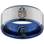 10mm Blue Beveled Satin Finish Tungsten Carbide U.D. NAVY Anchor Design.