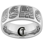10mm Dome Tungsten Carbide USMC Marines American Flag Design Ring.