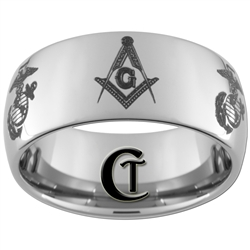 10mm Dome Tungsten Carbide Masonic and Marines Design