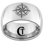 10mm Dome Tungsten Carbide Nautical Compass Design Ring.