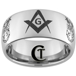 10mm Dome Tungsten Carbide Masonic Square & Compass and NAVY Anchor Award Design.