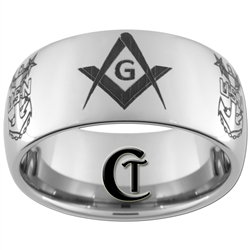 10mm Dome Tungsten Carbide Masonic and NAVY Design