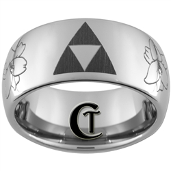 10mm Dome Tungsten Carbide Zelda flower Design