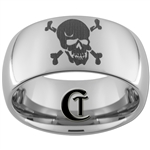 10mm Dome Tungsten Carbide Skull and Cross Bones Design