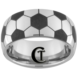 10mm Dome Tungsten Carbide Soccer Design Ring
