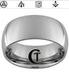 10mm Dome Tungsten Carbide Masonic York Rite Symbols Design Ring.
