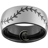 10mm Black Dome Tungsten Carbide Baseball Stitch Design