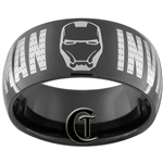 10mm Black Dome Tungsten Iron Man Ring.