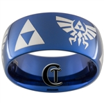 10mm Blue Dome Tungsten Carbide Zelda Skyward Sword Design
