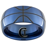 10mm Dome Blue Tungsten Carbide Basketball Design