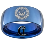 10mm Blue Dome Tungsten Carbide NAVY Crest Design.