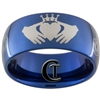10mm Blue Dome Tungsten Carbide Claddagh & Doctor Who Ring Design