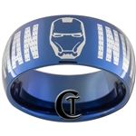 10mm Blue Dome Tungsten Carbide Invincible Iron Man Design