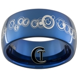 10mm Blue Dome Tungsten Carbide Doctor Who Gallifreyan-Together Forever Through Time and Space Design