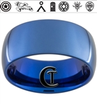 10mm Blue Dome Tungsten Carbide Fandoms Design
