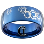 10mm Blue Dome Tungsten Carbide Doctor Who Gallifreyan-I Love You Design