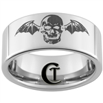 10mm Pipe Tungsten Carbide Skull with Bat Wings Design Ring.