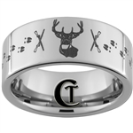 10mm Pipe Tungsten Carbide Deer Rifle Tracks Hunting Ring Design
