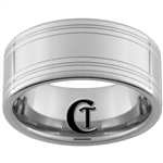 10mm Pipe Tungsten Carbide Lasered Lines Ring Design