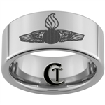 10mm Pipe Tungsten Carbide Navy Enlisted Rating Insignia Aviation Ordnanceman IYAOYAS Design Ring.