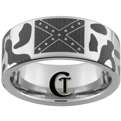 10mm Pipe Tungsten Carbide Polished Confederate Flag & Camo Designed Ring