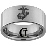 10mm Pipe Tungsten Carbide Satin Finish Marines Eagle, Globe & Anchor Design Ring.
