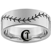 10mm Pipe Tungsten Carbide Satin Finish Baseball Stich Ring Design