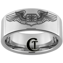 10mm Pipe Tungsten Carbide U.S. Air Force Navigator's Wings Design Ring.