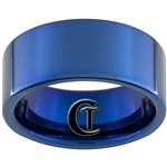 10mm Blue Pipe Tungsten Carbide Ring