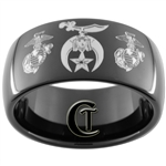 11mm Black Dome Tungsten Carbide Masonic Shriners & Marines Design.