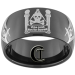 11mm Black Dome Tungsten Carbide Masonic Pillars Design