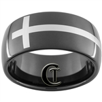 11mm Black Dome Tungsten Carbide White Lasered Connected Cross Design