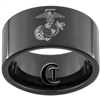 11mm Black Pipe Tungsten Carbide Marines Eagle Globe and Anchor Design.