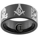 11mm Black Pipe Tungsten Carbide Masonic Design