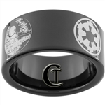 11mm Black Pipe Tungsten Carbide Star Wars Design