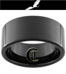 11mm Black Pipe Tungsten Carbide Flying Eagle Design Ring.