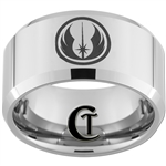 12mm Beveled Tungsten Carbide Star Wars Jedi Design