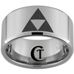 12mm Beveled Tungsten Carbide Zelda Design