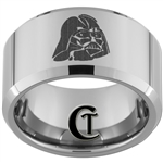 12mm Bevel Tungsten Carbide Star Wars Darth Vader  Design