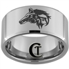 12mm Beveled Tungsten Carbide Wolf Design