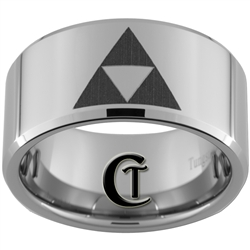 12mm Beveled Tungsten Legend of Zelda Triforces and Wolf Designed Ring.