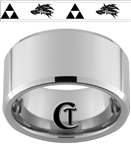 12mm Beveled Tungsten Carbide Zelda Wolf Design