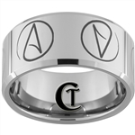 12mm Beveled Tungsten Carbide Atheist Design